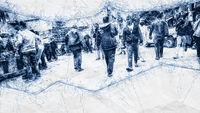 people walking in the street ballpoint pen doodle
