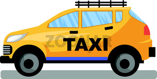 Yellow taxi car vector llustration on white background.