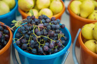 Bucket with grapes