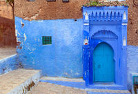 Blue door on street in Chefchaouen