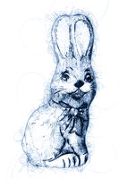 chocolate easter bunny ballpoint pen doodle