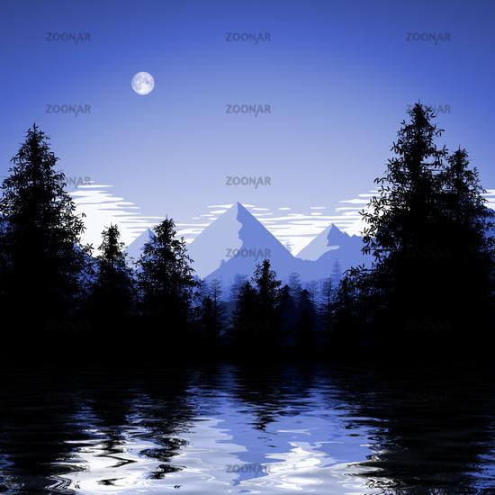 blue forest lake illustration