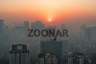 Chengdu skyline aerial view at sunrise