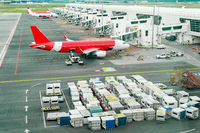 Airplains and freight containers in airport
