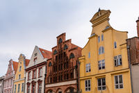Traditional houses with gable in the old town of Stralsund
