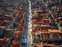 Old houses with red-orange roofs in Dubrovnik in Croatia