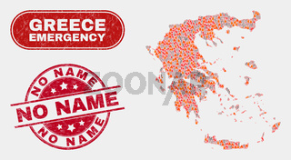Disaster and Emergency Collage of Greece Map and Grunge No Name Watermark