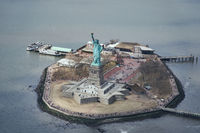 Aerial photo of the Statue of Liberty in New York City