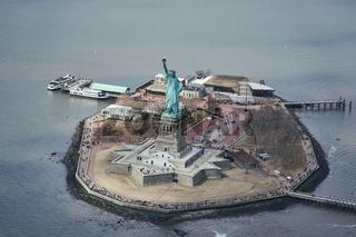 Luftaufnahme der Freiheitsstatue in New York City