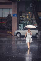 Chinese woman with an umbrella