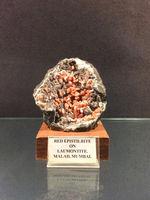Red Epistilbite on Laumonitte, Gargoti Museum, Sinner, Maharashtra, India.