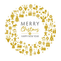 merry christmas and happy new year greeting card with golden christmas symbols on white background.