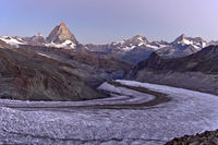 Swiss Alps with Matterhorn at dawn near Zermatt, Valais, Switzerland
