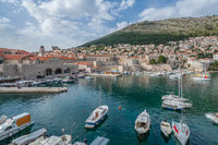 Boats in the Dubrovnik old town harbor