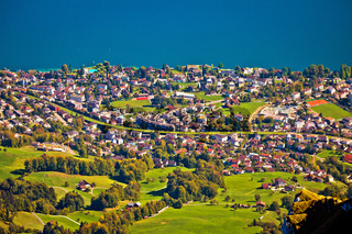 Hergiswil village and Lake Luzern aerial view from mount Pilatus