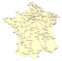 Map of the main roads of the French railway network
