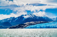 View of Grey Glacier and Grey Lake with the snowy mountain in sunny day