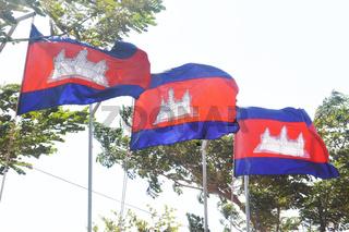 three flags of the kingdom of cambodia