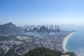 From the top of the Two Brothers mountain the view of the Bay of Guanabara, Ipanema, Cop