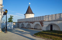 The south stone wall and South round tower of Tobolsk Kremlin. Tobolsk. Russia