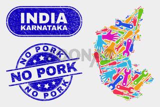 Production Karnataka State Map and Grunge No Pork Stamps