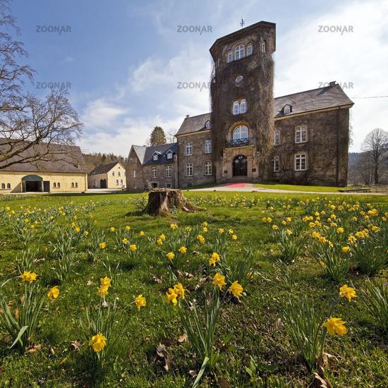 Haus Barmenohl in spring, Finnentrop, Sauerland, North Rhine-Westphalia, Germany, Europe