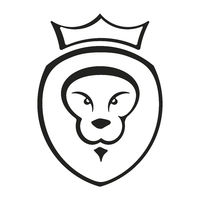 Lion king icon in flat style and geometric forms.