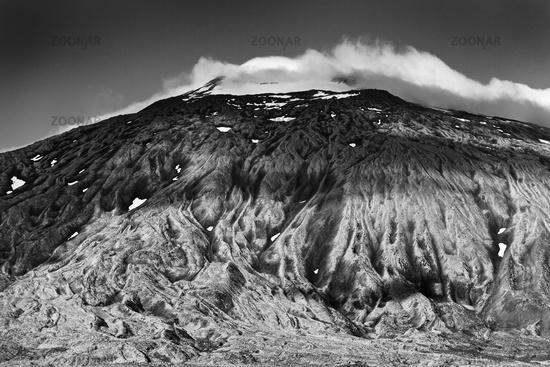 Snæfellsjoekull volcano and glacier with clouds, Snæfellsnes peninsula, West Iceland, Iceland