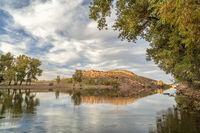 mountain lake in fall scenery