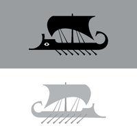 Ancient sailboat, Greek warship, Trireme vessel.