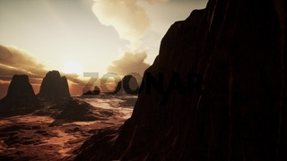 Amazing Sandstone Formations in Famous Sunset at Monument Valley