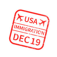 USA International travel visa stamp on white. Arrival sign red rubber stamp with texture