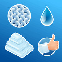 Washing clothes stickers set, clean laundry, fibers, water drop, thumbs up icons isolated, vector illustration.