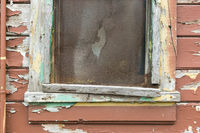Weathered Wood Panel Wall and Window With Peeling Paint Textured Background