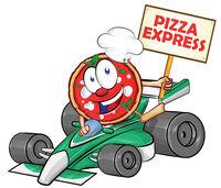 funny cartoon formula race car with pizza