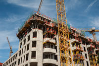 Berlin, Germany, Construction site of residential blocks in Friedrichshain