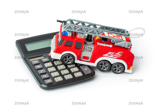 Calculator and toy fire truck