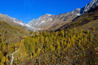 Herbst im Lötschental, Blick zur Lötschenlücke, Fafleralp, Wallis, Schweiz, Schweiz