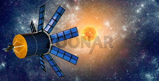 Space satellite orbiting the earth on a background star sun.