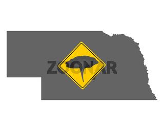Karte von Nebraska mit Verkehrsschild Tornadowarnung - Map of Nebraska and traffic sign tornado warning