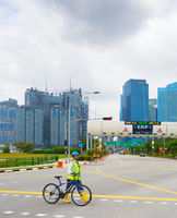 Singapore, consruction site, bicycle builder