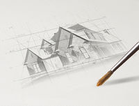 Pencil drawing house plan concept