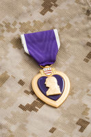 Purple Heart War Medal on Marine Camouflage Material
