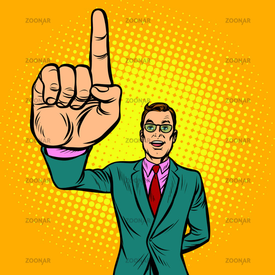 attention gesture man. index finger up