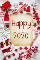 Bright Christmas Flat Lay, English Text Happy 2020