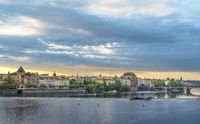 Vltava river and Prague City at sunrise