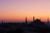 Hagia Sophia shadow view, beautiful sunset colours, Istanbul, Turkey