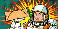Smiling man astronaut presents Shawarma kebab Doner