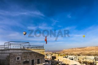 Two hot air balloons flying over Cappadicia