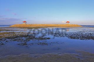 Balinese Pagodas on Karang beach at Sanur, Bali, Indonesia